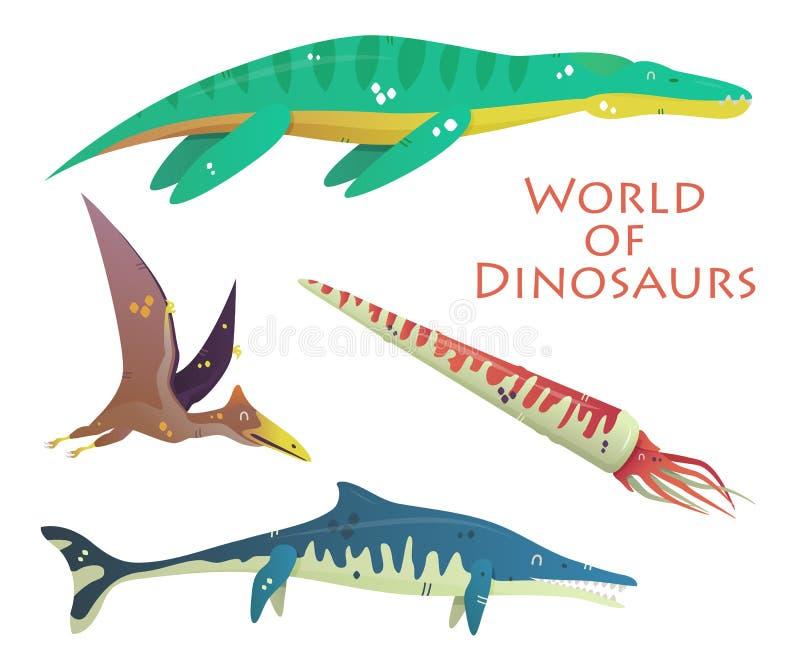 飞行和游泳恐龙和史前爬行动物或者蜥蜴 Plesiosaurs或liopleurodon, pterodactyloidea或 向量例证