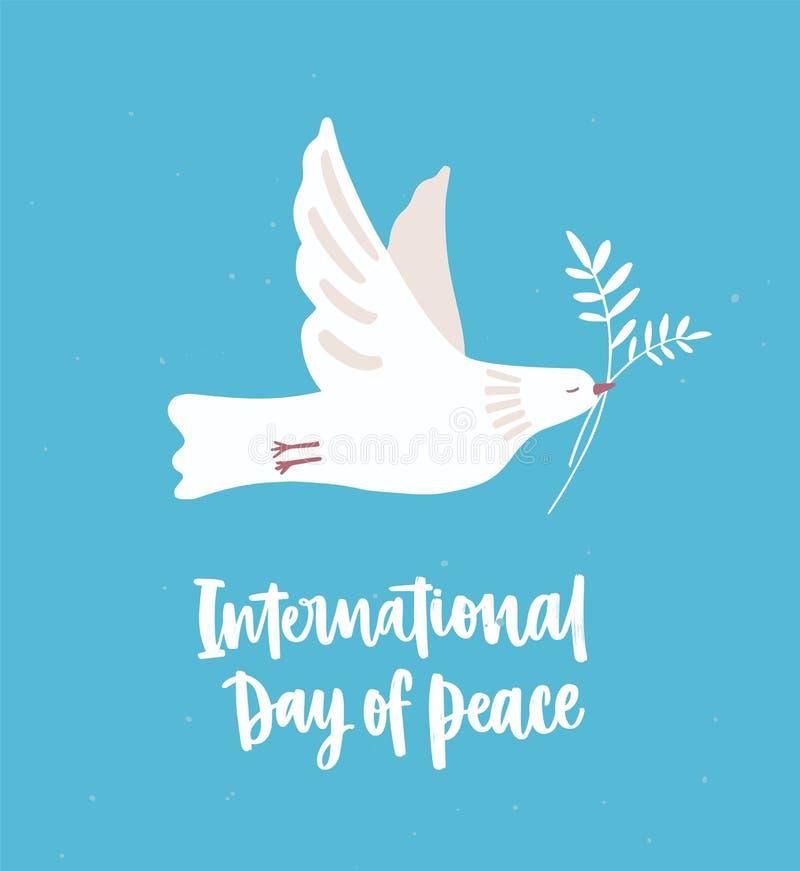 飞行和运载橄榄树枝的白色鸠、鸽子或者鸟 爱的美好的标志和和平主义和国际天 向量例证