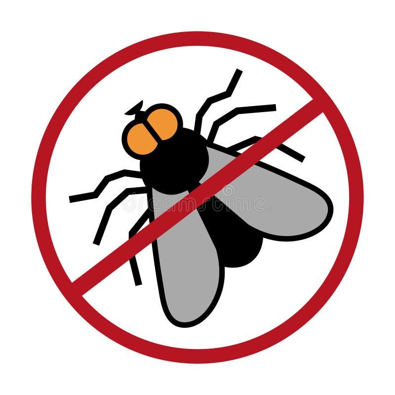 飞行商标,停止飞行,虫害,飞行手拉的剪影  库存例证