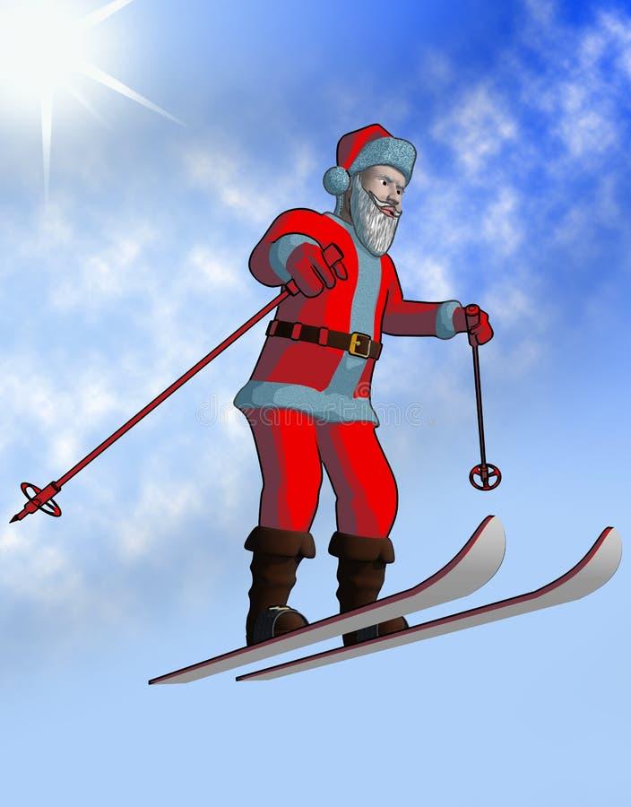 飞行圣诞老人滑雪 库存图片