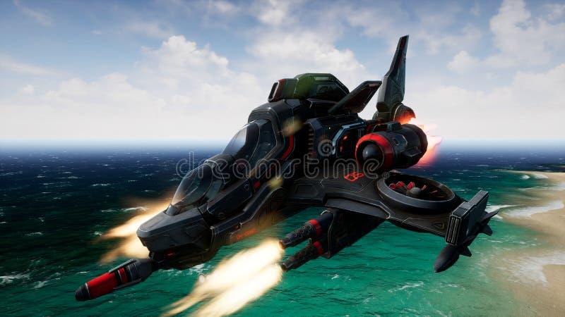 飞行在一个未知的水行星和射击的太空飞船 3d翻译 库存照片