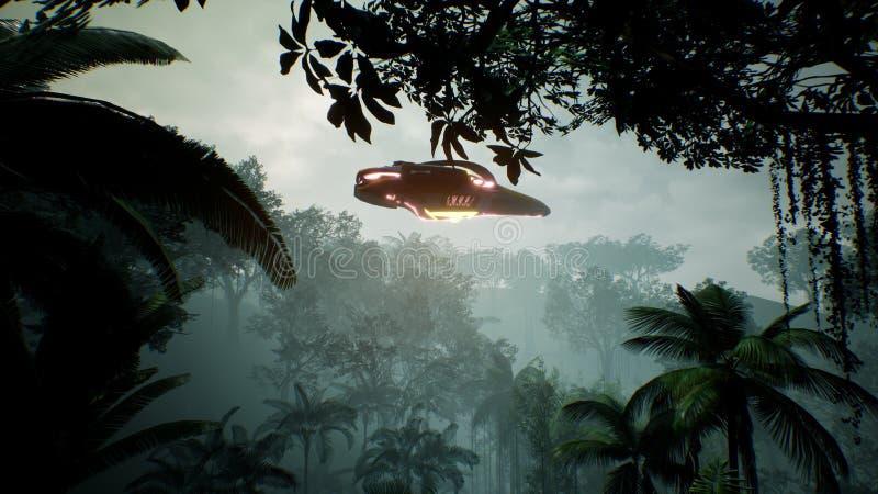 飞行在一个未知的绿色行星的太空飞船 飞碟的一个未来派概念 3d翻译 免版税图库摄影