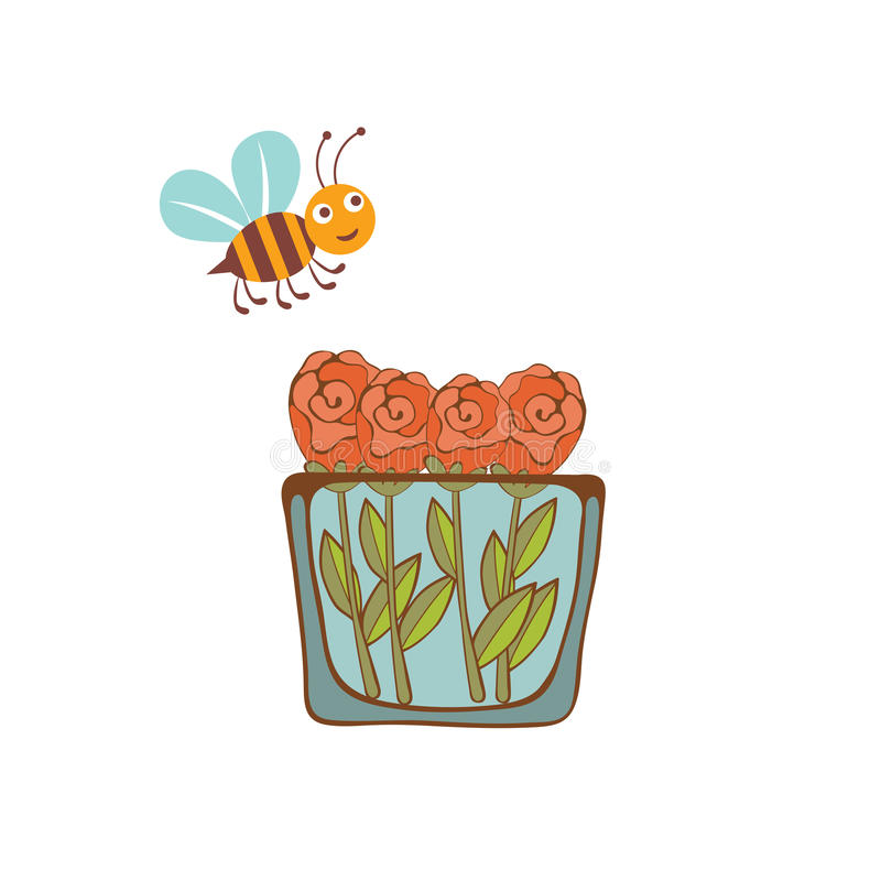Download 飞行在一个花瓶的蜂的例证与 向量例证. 插画 包括有 要素, 花盆, 背包, bothy, 例证, 图象 - 62537445