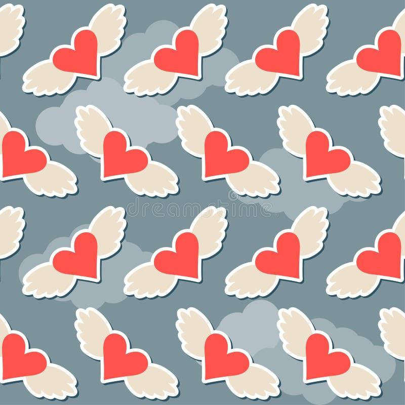 飞行在与云彩brighy心脏的天空有翼无缝的样式摘要背景为情人节或婚姻 皇族释放例证