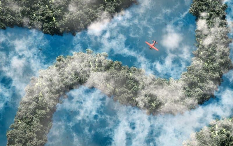 飞行在与河和克洛的雨林的红色飞机天线 库存例证