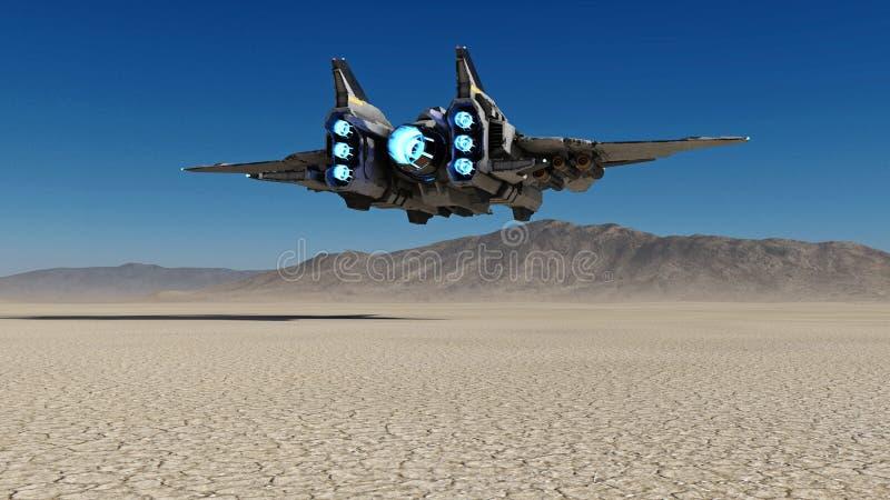 飞行在与蓝天在背景中,科学幻想小说场面, 3D的一个离开的行星的外籍人太空飞船回报 向量例证