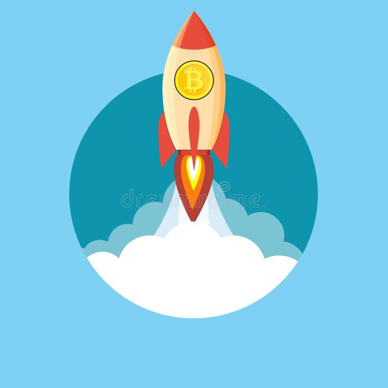 飞行在与bitcoin象的云彩的火箭队 皇族释放例证