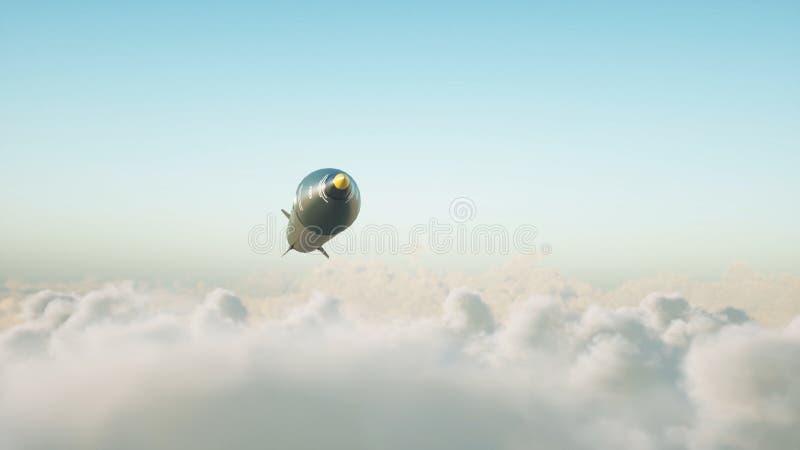 飞行在云彩的弹道核火箭 战争和军事概念 3d翻译 皇族释放例证