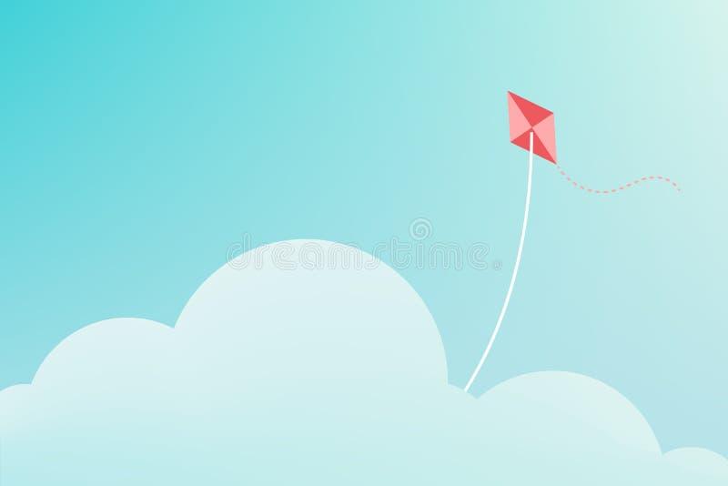 飞行在云彩的风筝 皇族释放例证