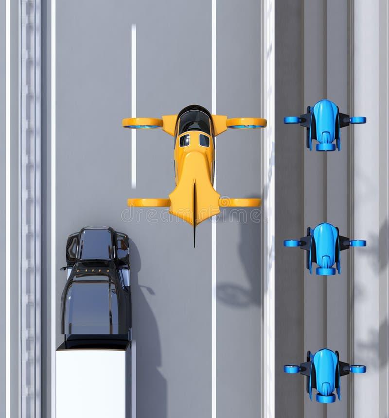 飞行在交付寄生虫和卡车舰队的橙色乘客寄生虫出租汽车鸟瞰图驾驶在高速公路的 库存例证