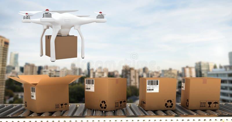飞行在传送带的寄生虫由有交付小包箱子的城市 库存例证