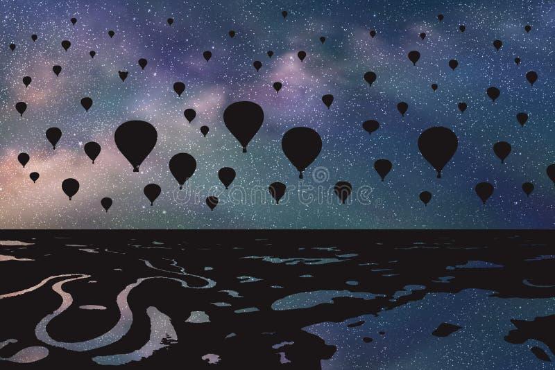 飞行在夜的气球 库存例证