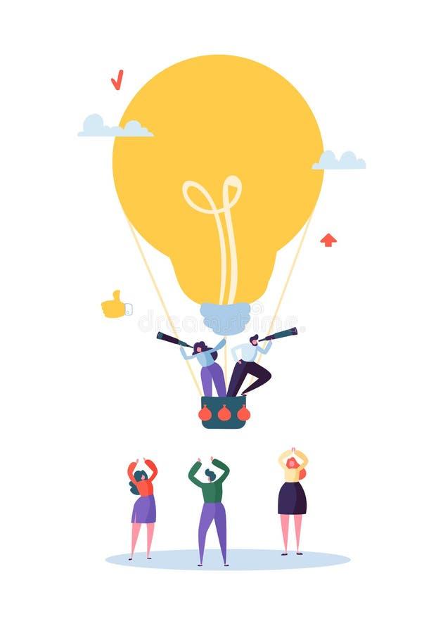 飞行在大电灯泡的平的商人 男人和妇女有小望远镜的 企业想法,视觉,创新,队工作 皇族释放例证