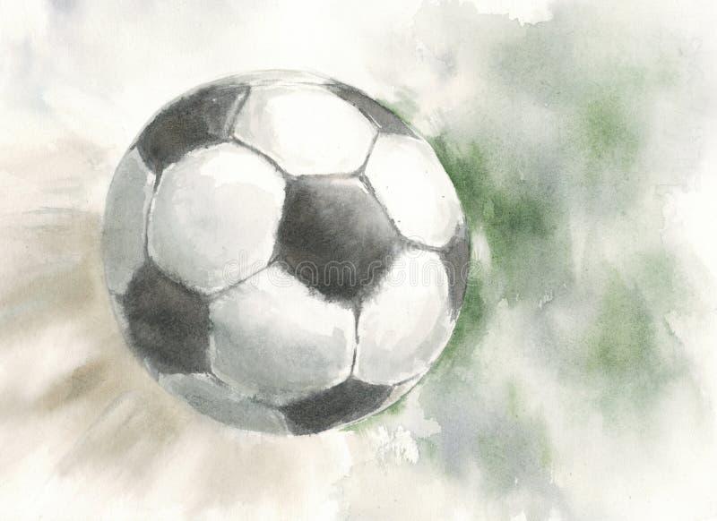 飞行在天空中的足球比分 库存图片