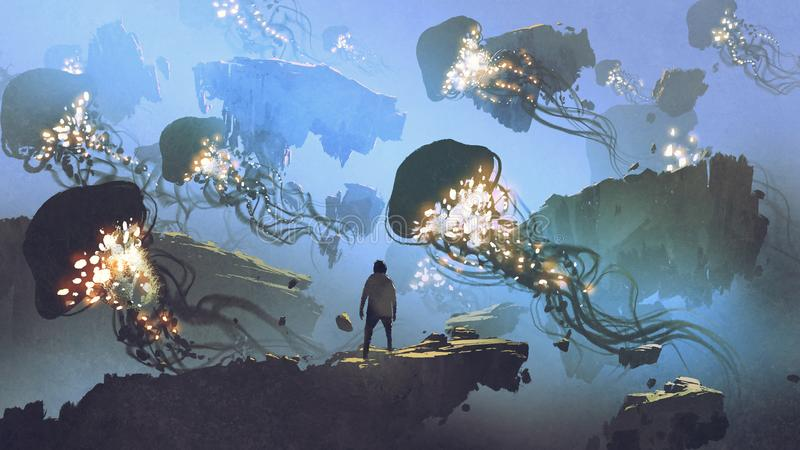 飞行在天空的水母群  皇族释放例证