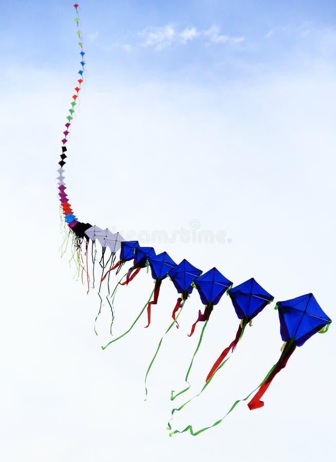飞行在天空的长的连续风筝 免版税图库摄影