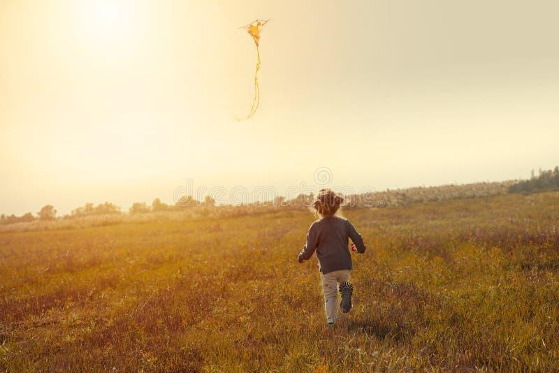 飞行在天际的领域故意倾斜的小女孩一只风筝给照片的动力学 免版税库存图片