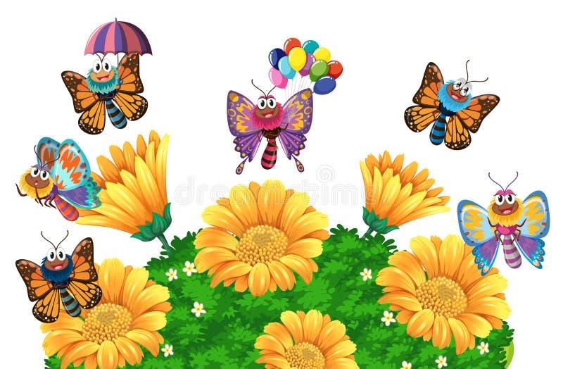 飞行在庭院附近的蝴蝶 库存例证