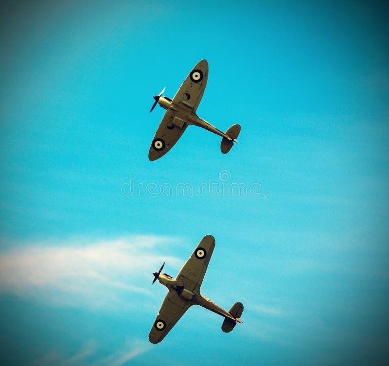 飞行在形成的两个烈性人 免版税库存照片