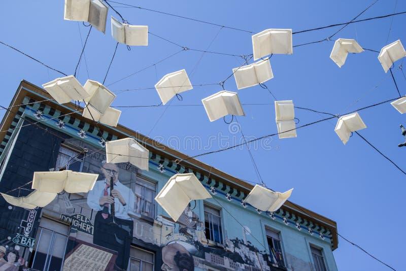 飞行在旧金山的书 免版税库存照片