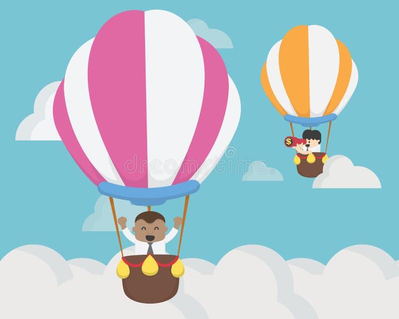 飞行在气球挑战概念的商人两 库存例证