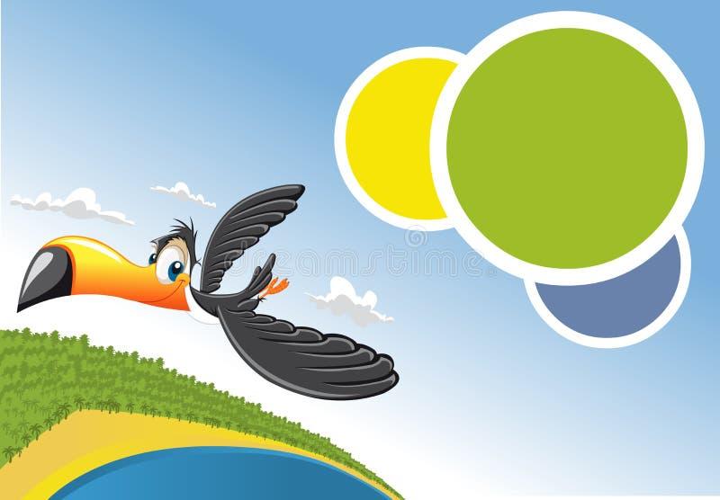 飞行在海滩的Toucan在巴西 向量例证