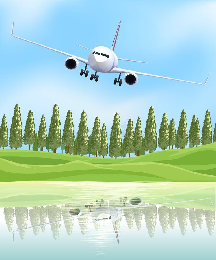 飞行在湖的飞机 库存例证