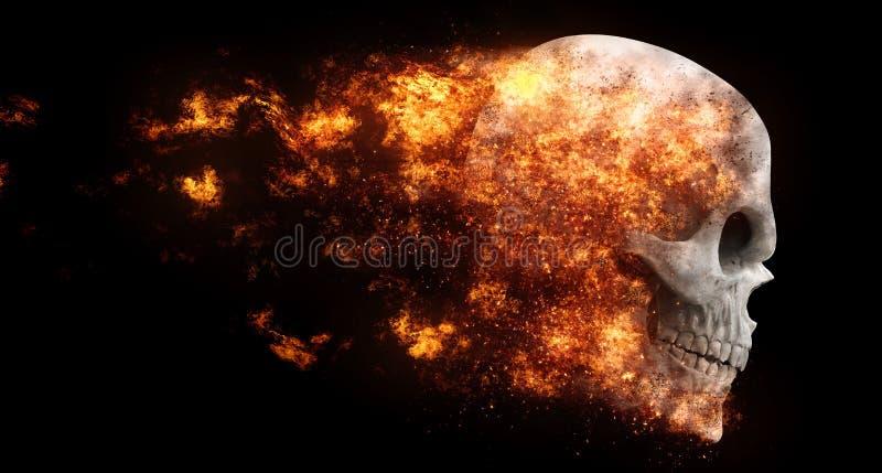 飞行在火焰的邪魔头骨 库存例证