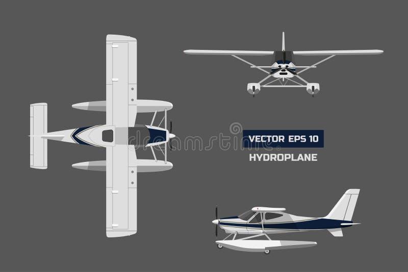 飞行在灰色背景的一个平的样式 货物航空器 水上飞机工业图画  上面,前面和侧视图 皇族释放例证