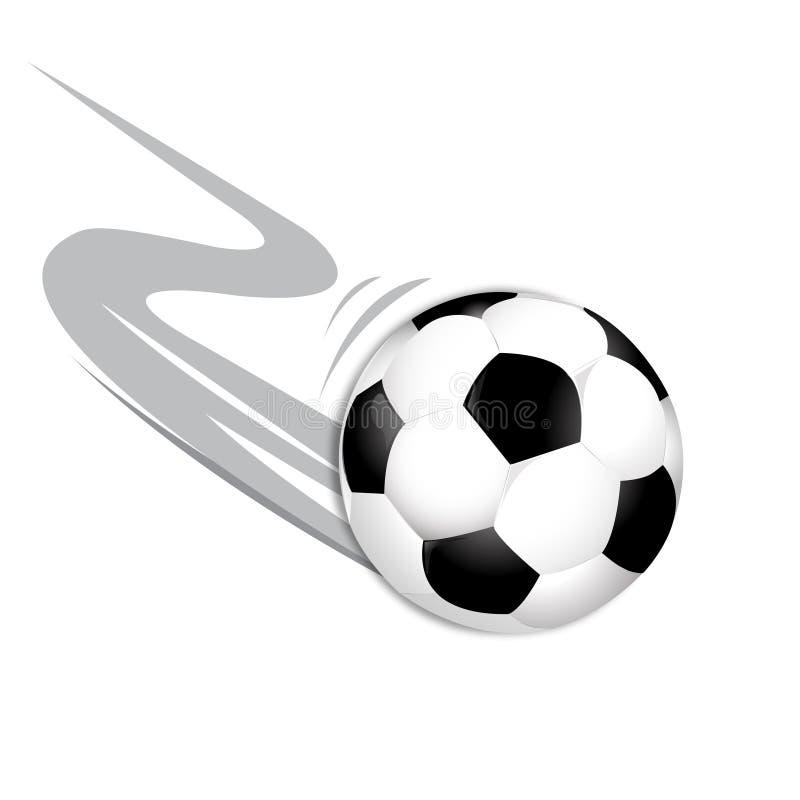 飞行在白色背景的足球 库存例证