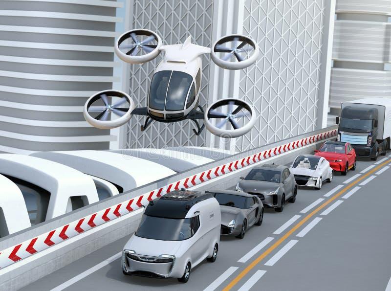 飞行在繁忙运输果酱的汽车的白色乘客寄生虫 向量例证