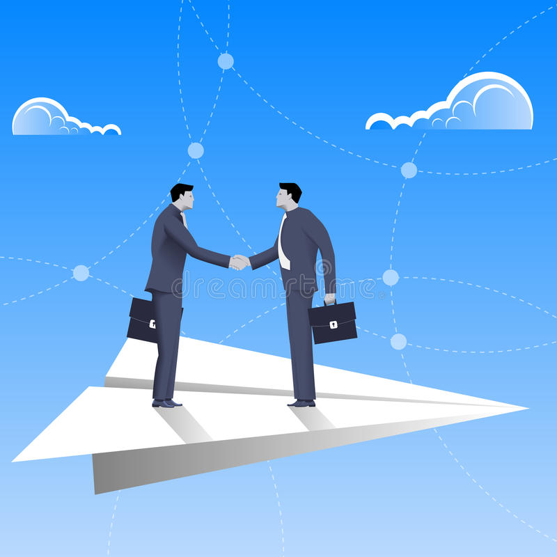 飞行在纸平面企业概念 库存例证