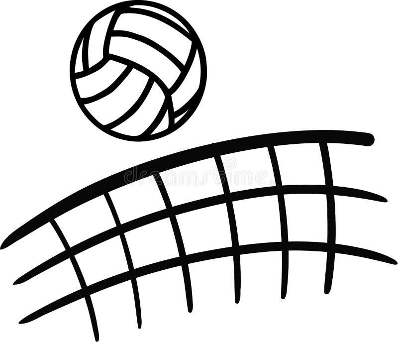 飞行在网的排球 向量例证