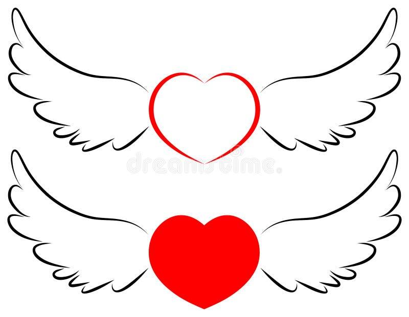 飞行在翼的心脏标志 向量例证