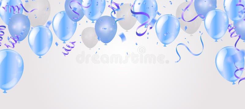 飞行在背景的气球,理想对显示您的婚礼、生日、庆祝或者假日 皇族释放例证