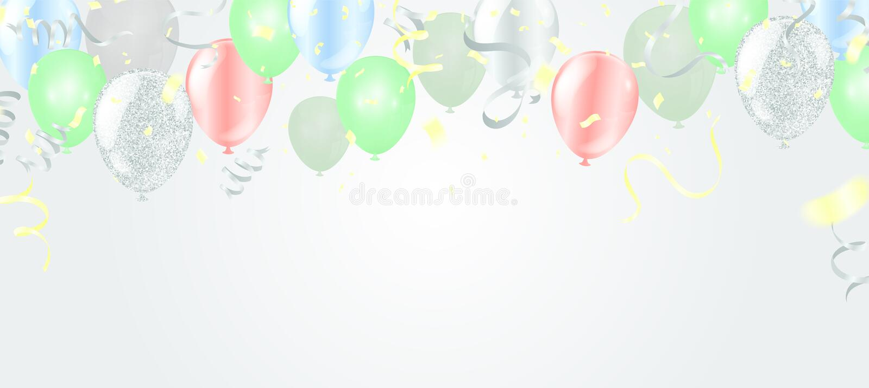 飞行在背景的气球,理想对显示您的婚礼、生日、庆祝或者假日 向量例证