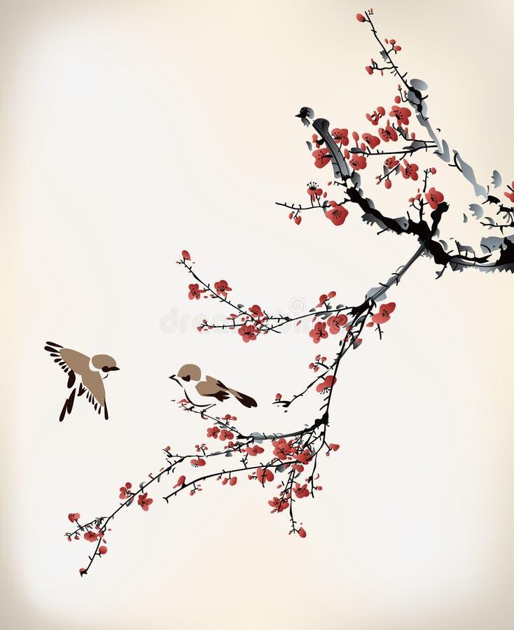 鸟和腊梅 库存例证