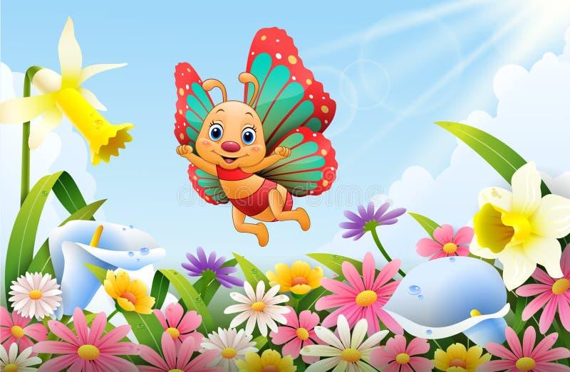 飞行在花田的动画片蜂 向量例证