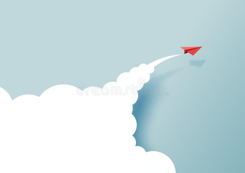 飞行在蓝天和云彩的红色纸飞机 皇族释放例证