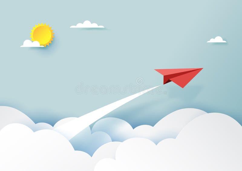 飞行在蓝天和云彩的红色纸飞机 库存例证