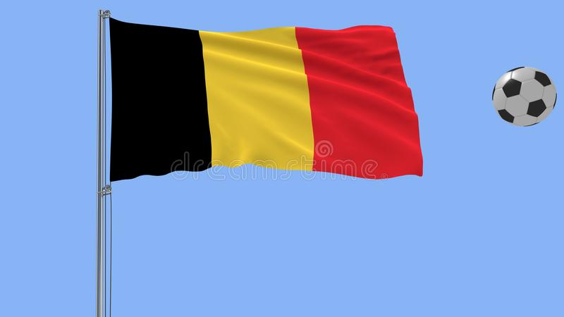 飞行在蓝色背景, 3d的比利时和足球现实振翼的旗子翻译 库存图片