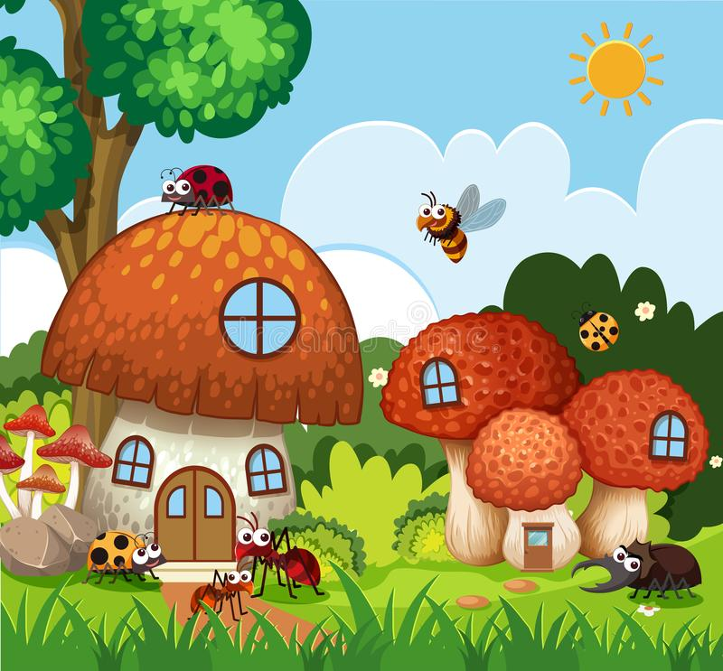 飞行在蘑菇房子附近的许多昆虫在庭院里 向量例证