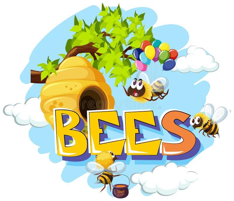 飞行在蜂箱附近的蜂 向量例证