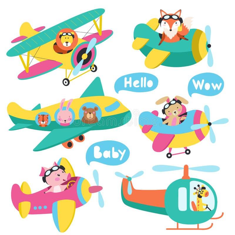 飞行在飞机手拉的传染媒介的套逗人喜爱的动物 库存例证