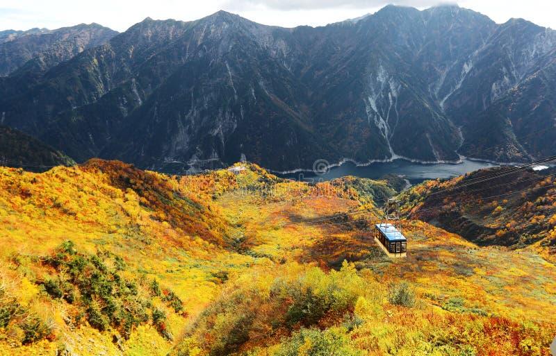 飞行在馆山Kurobe高山路线的美丽的秋天谷的一辆风景缆车的空中全景 库存图片