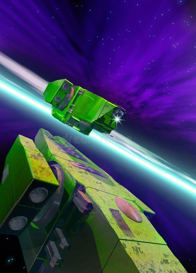 飞行太空飞船二 向量例证
