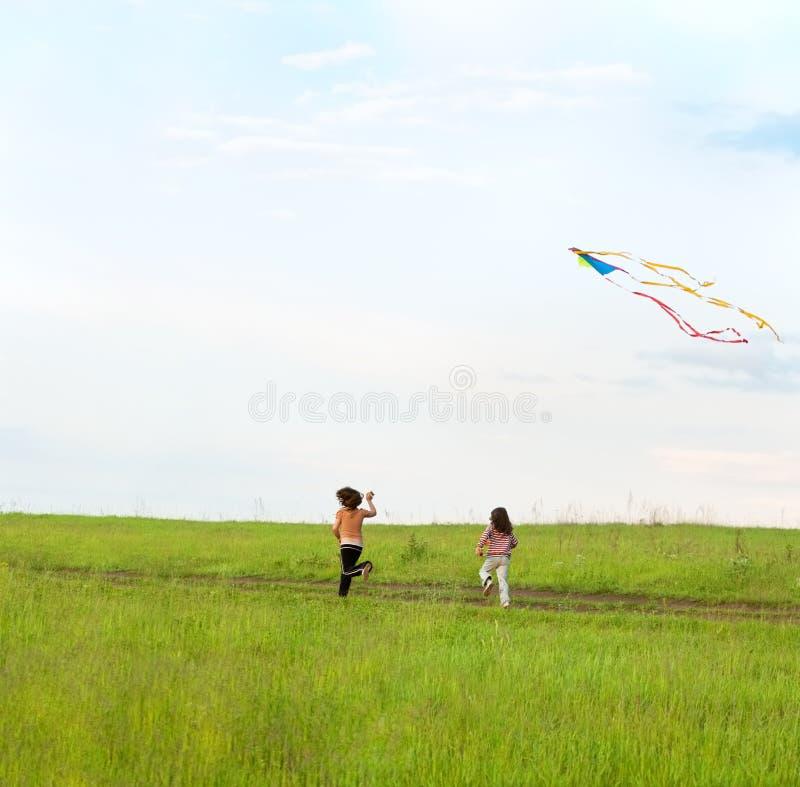 飞行女孩风筝一点二 免版税库存照片