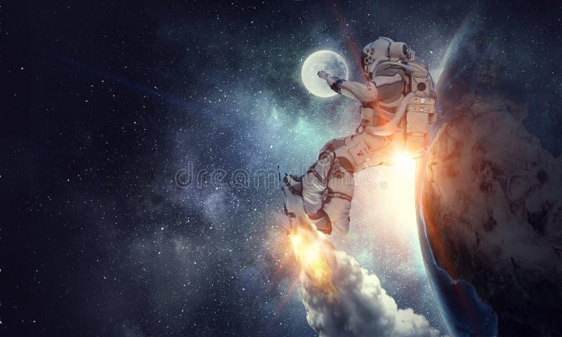 飞行委员会的太空人 混合画法 免版税图库摄影