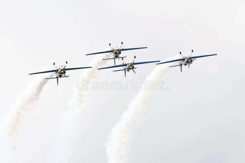 飞行小组的特技飞行公牛 免版税图库摄影