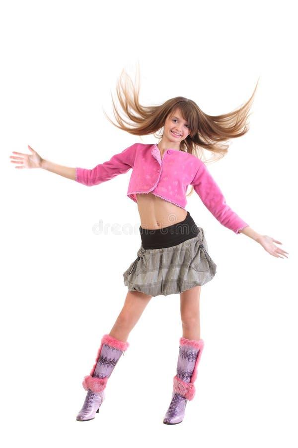 飞行愉快女孩的头发 免版税库存照片